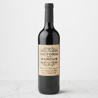 Vintage Hochzeits-Wein-Flaschen-Bevorzugung Weinetikett