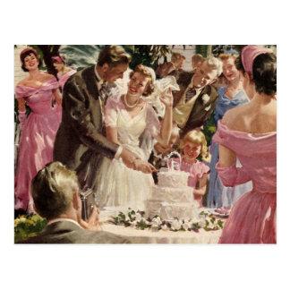 Vintage Hochzeits-Zeremonie Postkarte