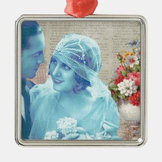 Vintage Hochzeitsbraut- u. Silbernes Ornament