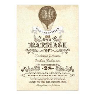 Vintage Hochzeitseinladungen des Heißluftballons Personalisierte Ankündigungskarte