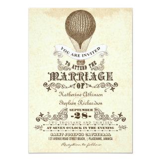 Vintage Hochzeitseinladungen des Heißluftballons 12,7 X 17,8 Cm Einladungskarte