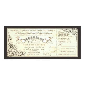 Vintage Hochzeitskarten mit elegantem Schnörkel 10,2 X 23,5 Cm Einladungskarte