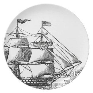 Vintage hohe Schiff Woodblock Druck-Melamin-Platte Teller