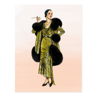 Vintage Hollywood-Couture-Mode-Illustration Postkarte