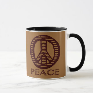 Vintage Holzschnitt-Friedenszeichen-Kaffee-Tasse Tasse