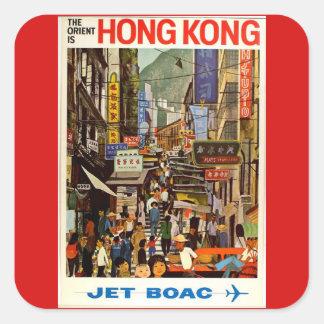 Vintage Hong- Kongfluglinien-Reise-Anzeige Quadratischer Aufkleber