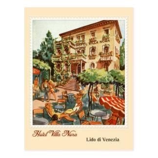 Vintage Hotelanzeige Lido Venezia (Venedig-Strand) Postkarte