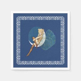 Vintage hübsche blaue feenhafte Strumpf-blauer Papierserviette