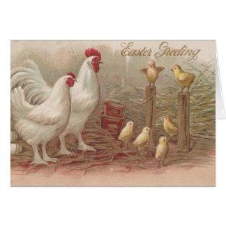 Vintage Huhn-Familie Ostern Karte