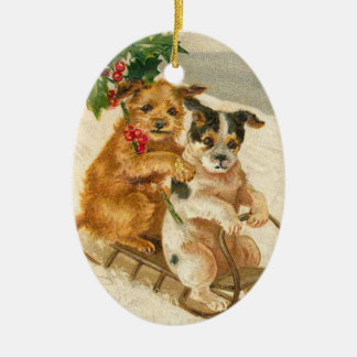 Vintage Hunde auf einer Keramik Ornament