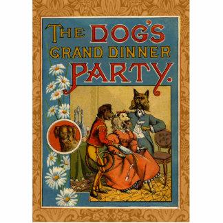 Vintage Hunde des Abendessen-Party Freistehende Fotoskulptur