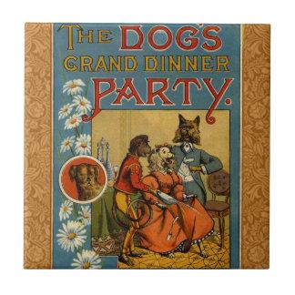 Vintage Hunde des Abendessen-Party Keramikfliese