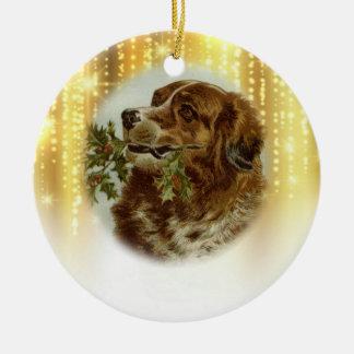 Vintage Hundeweihnachtsverzierung Keramik Ornament