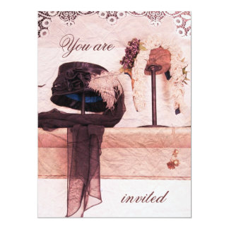 Vintage Hut-Brautparty-Einladungsschablone 16,5 X 22,2 Cm Einladungskarte