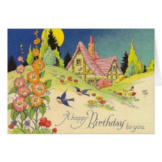 Vintage Hütten-Geburtstags-Gruß-Karte Karte