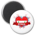 Vintage i-Liebe Syrien Runder Magnet 5,1 Cm
