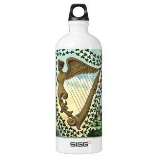Vintage Illustration der Kleeblattfrauenharfe Wasserflasche