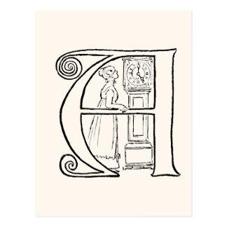 Vintage Illustration des Buchstaben A Postkarte