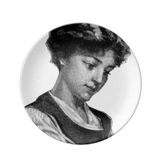 Vintage Illustration eines Damenbackens Teller Aus Porzellan