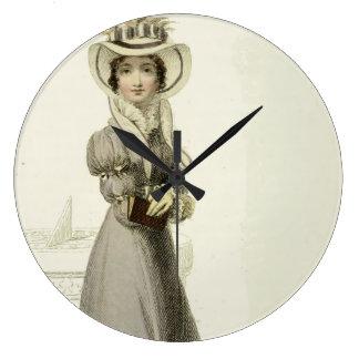 Vintage Illustration:  Stilvolles Kleid u. Sundial Große Wanduhr