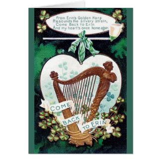 Vintage irischen Harfen-St Patrick Tageskarte Karte