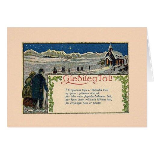 Vintage isländische Weihnachtsgedicht-Gruß-Karte