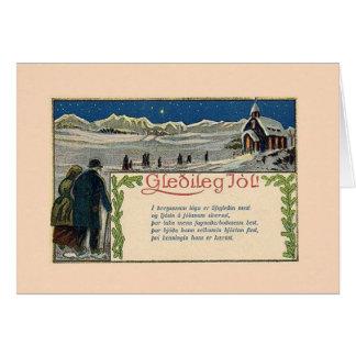 Vintage isländische Weihnachtsgedicht-Gruß-Karte Grußkarte