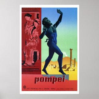 Vintage italienische Reise Pompejis Plakat