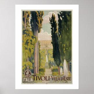 Vintage italienische Reiseanzeige Tivoli Lazio Rom Poster