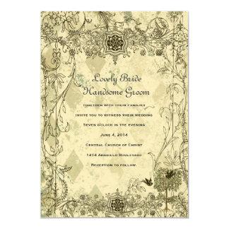 Vintage italienische Verdigris-Hochzeits-Einladung 12,7 X 17,8 Cm Einladungskarte