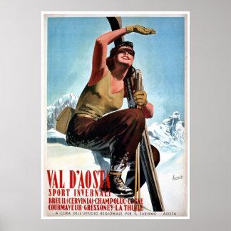 Vintage italienische Wintersport-Skireiseanzeige Poster