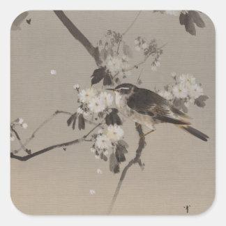 Vintage Japaner Ukiyo-e Malerei eines Vogels Quadratsticker