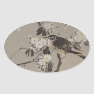Vintage Japaner Ukiyo-e Malerei eines Vogels Ovaler Aufkleber