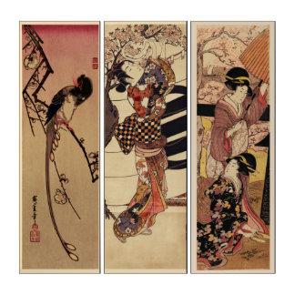Vintage japanische Elster-Frauen-Kirschblüten Triptychon