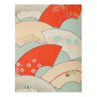 Vintage japanische Fans Postkarte