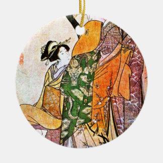 Vintage japanische Geisha-Grafik Keramik Ornament