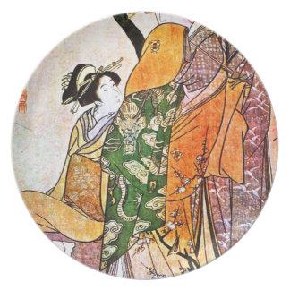 Vintage japanische Geisha-Grafik Teller