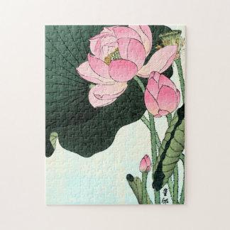 Vintage japanische Lotos-Blume der feinen Kunst-| Puzzle