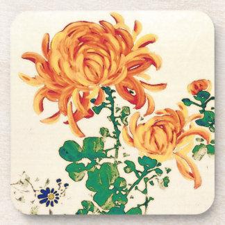 Vintage japanische Malerei der Chrysanthemen Getränke Untersetzer