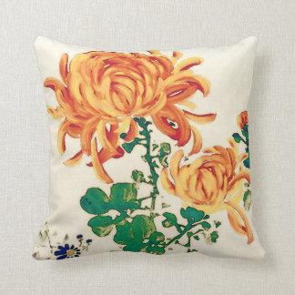 Vintage japanische Malerei der Chrysanthemen Kissen