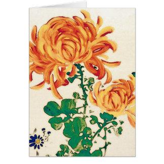 Vintage japanische Malerei der Chrysanthemen Mitteilungskarte