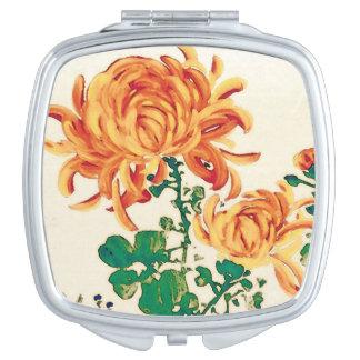 Vintage japanische Malerei der Chrysanthemen Taschenspiegel