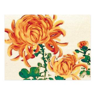 Vintage japanische Malerei der Chrysanthemen Postkarte