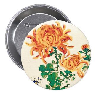 Vintage japanische Malerei der Chrysanthemen Runder Button 7,6 Cm
