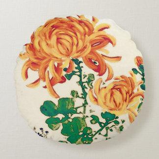Vintage japanische Malerei der Chrysanthemen Rundes Kissen