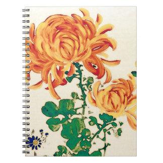 Vintage japanische Malerei der Chrysanthemen Spiral Notizbücher