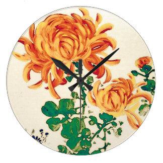 Vintage japanische Malerei der Chrysanthemen Uhr