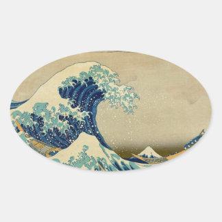 Vintage japanische Malerei der großen Welle Ovaler Aufkleber