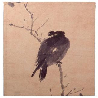 Vintage japanische Malerei eines Vogels Bedruckte Serviette
