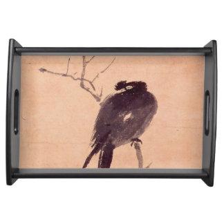 Vintage japanische Malerei eines Vogels Serviertablett